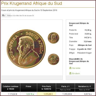 Prime de la pièce d'or de 1 once (Krugerrand) chez le courtier CDT