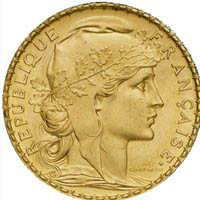 Avers de la pièce d'or Napoléon Coq et Marianne (20F)