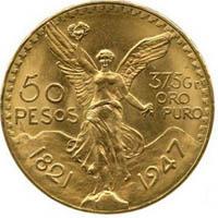 Motif sur l'avers d'une pièce 50 Pesos Mexicaine Centenario