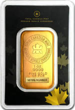 Le resto du lingot d'or RCM (Royal Canadian Mint) de 1 once